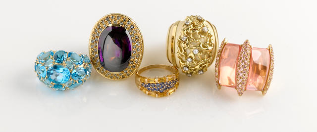 An ivory, diamond and 18k gold ring together with four colored cubic zirconia, gem-set and 14k gold rings