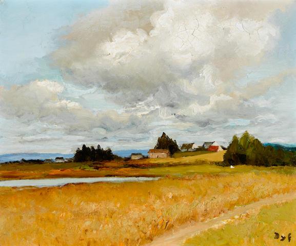 Marcel Dyf (1899-1985) Paysage de Bretagne avec une mare, 1970 18 5/16 x 21 5/8in