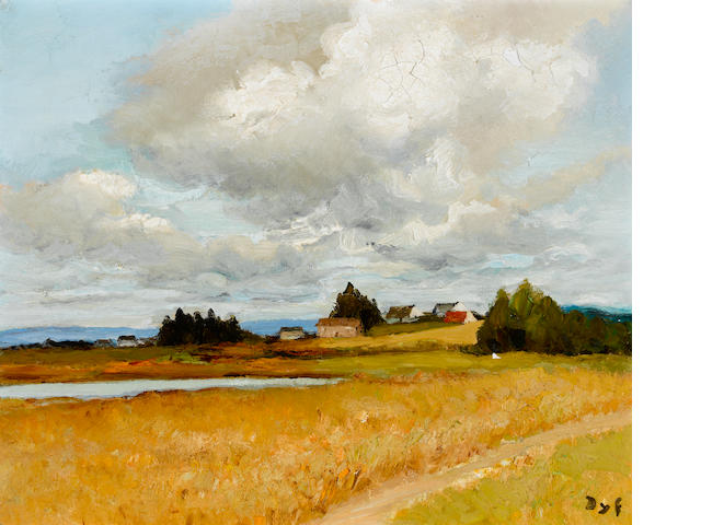 Marcel Dyf (French, 1899-1985) Paysage de Bretagne avec une mare 18 5/16 x 21 5/8in. (46.5 x 55cm)