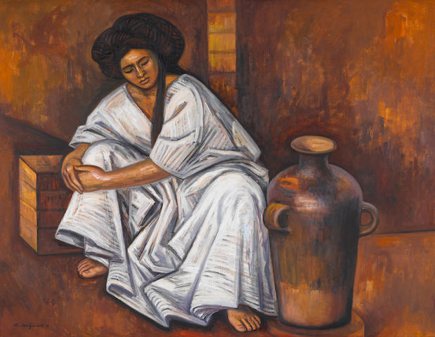 Raúl Anguiano (1915-2006) Yalalteca con ánfora (Girl with Pottery), 1978 38 x 49in. (96.5 x 124.5cm)