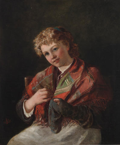 Follower of Sir John Everett Millais, PRA (British, 1829-1896) Darning a sock 24 x 20in