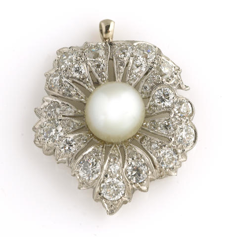 A cultured pearl, diamond and platinum pendant