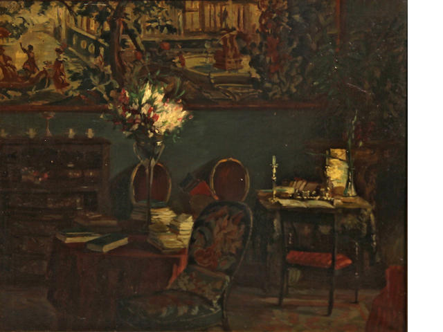 French School An interior of a study 25 x 30in