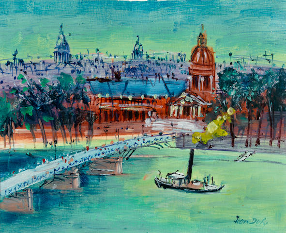 Attributed to Jean Dufy (French, 1888-1964) Pont des Arts 13 x 16 1/8in. (33 x 41cm)