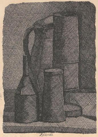 Giorgio Morandi (1890-1964); Natura morta con quattro oggetti;