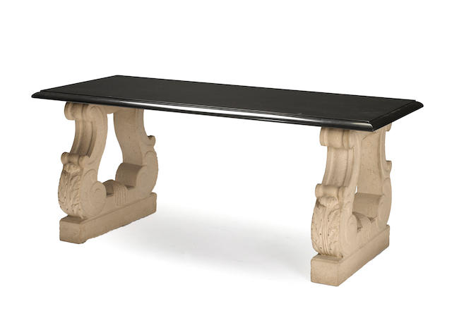 A Michael Taylor fossilized stone and granite dining table