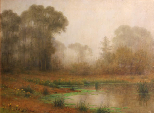 William Barr (British/American, 1867-1933) Lily pond in the fog 18 1/4 x 24 1/4in unframed