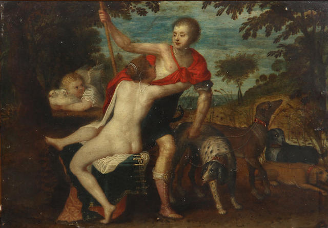 Circle of Hendrik van Balen the Elder (Antwerp 1575-1632) Venus and Adonis 6 1/4 x 8 3/4in