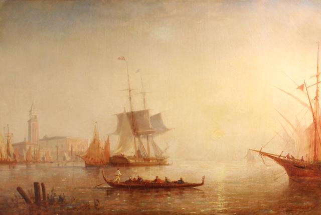 Paul Charles Emmanuel Gallard-Lepinay (French, 1842-1882) The Bacino di San Marco at sunset 26 1/2 x 39 1/2in