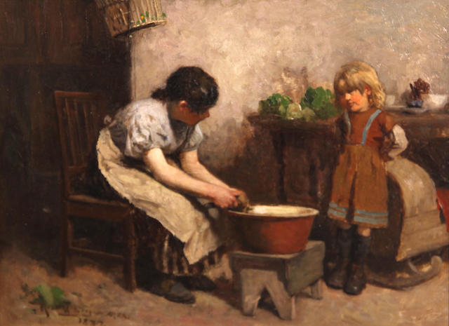 Robert McGregor, RSA (British, 1847-1922) A lesson in cooking 9 x 12in