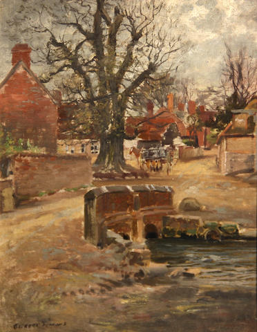 George Gardner Symons (American, 1863-1930) English village 9 1/4 x 7 1/4in