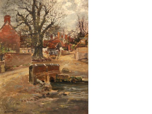 George Gardner Symons (American, 1863-1930) English village  9 1/4 x 7 1/4in