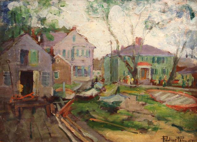 Pauline Palmer (American, 1867-1938) Boat building 11 3/4 x 16in