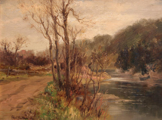 Arthur Edward Blackmore (American, 1854-1921) Path by an icy river, 1903 8 x 11in