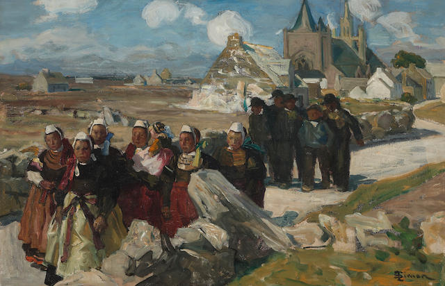 Lucien Simon (French, 1861-1945) People leaving a church