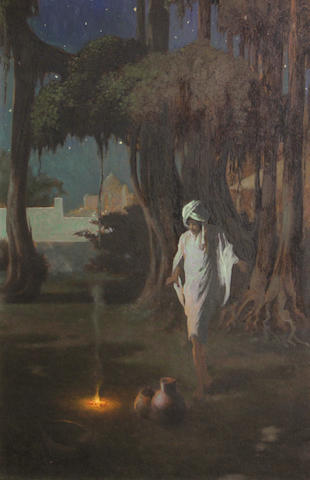 Perham Wilhelm Nahl (1869-1935) Young Arab by a fire 20 x 14 1/4in