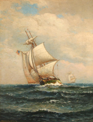 James Gale Tyler (American, 1855-1931) American ships on choppy seas 24 x 18in