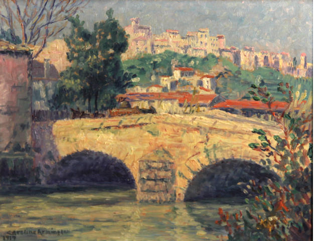 Caroline Helena Armington (American, 1875-1939) Monte Carlo, 1919; Bridge at Cagnes, 1919 (a pair) each 8 3/4 x 10 3/4in