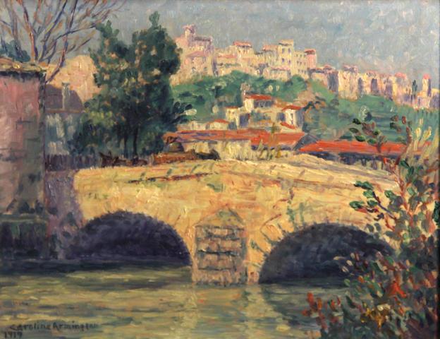 Caroline Helena Armington (American, 1875-1939) Monte Carlo, 1919; Bridge at Cagnes, 1919 (a pair) each 8 3/4 x 10 3/4in
