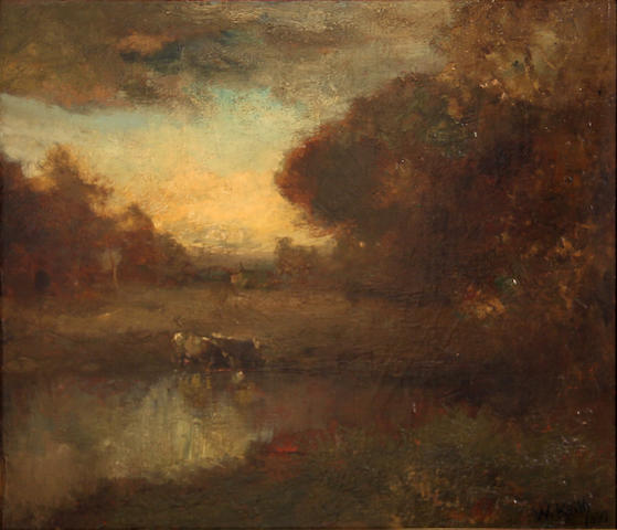 Attributed to William Keith (Scottish/American, 1838-1911) Cattle watering 14 x 16in