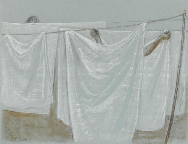 Francisco Zúñiga (Mexican, 1912-1998) Tendederos, 1975 19 11/16 x 25 9/16in. (50 x 65cm)