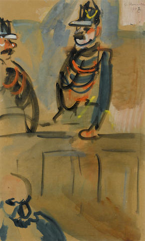 Attributed to Georges Rouault (French, 1871-1958) Court scene  18 5/16 x 11 5/8in. (46.5 x 29.5cm)