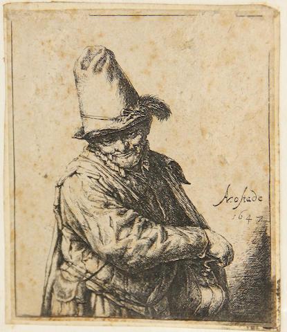 Adriaen van Ostade (Dutch, 1610-1685); Organ-Grinder (Hurdy-Gurdy);