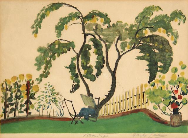 Hayley Lever (American, 1875-1958); Aida Reading in the Garden;
