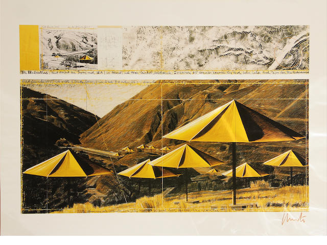 Christo (American, born 1935); The Umbrellas, Joint Project For Japan-USA (USA Site Yellow);