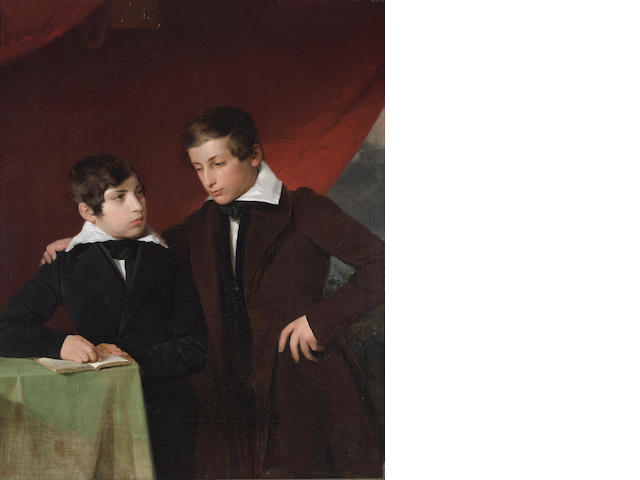 English School, 19th Century A portrait of two brothers 42 x 33 3/4in (106.7 x 85.7cm)