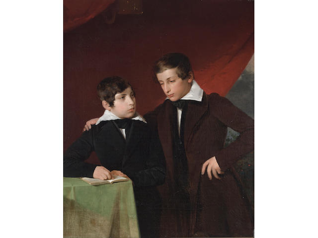 Spanish School, 19th Century A portrait of two brothers 42 x 33 3/4in