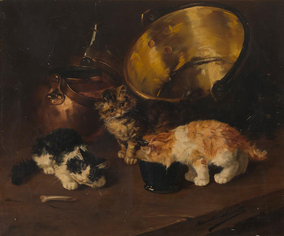 Alfred Arthur Brunel de Neuville (French, 1852-1941) Kittens in the kitchen 21 1/2 x 25 1/2in