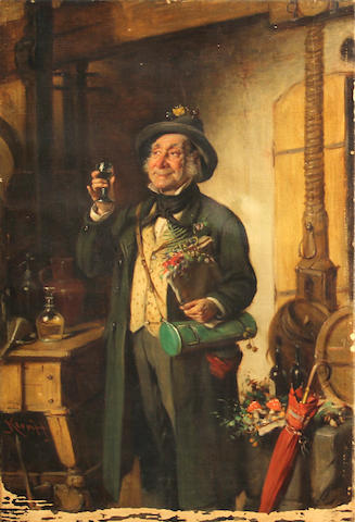 Hermann Armin Kern (Hungarian, 1839-1912) The toast 18 3/4 x 12 1/2in unframed