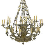 A French Neoclassical gilt and patinated bronze and metal thirty light chandelier <BR />second quarter 19th century
