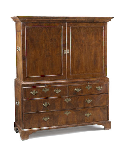 A George I walnut linen press