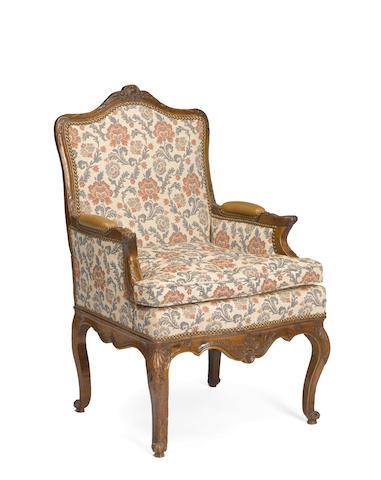 A Louis XV beechwood upholstered bergère à la reine mid 18th century