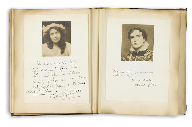 THEATER. Large autograph and photo album, containing approximately 95 gelatin silver print portrait photographs, approximately 3 x 3 to 3 x 4½ inches,