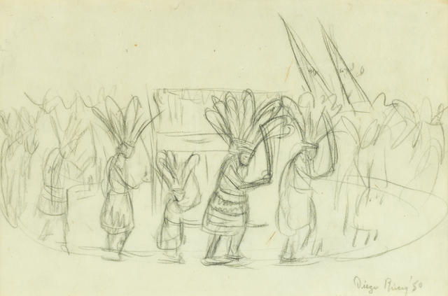 Diego Rivera, pencil on paper