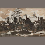 18th Century Dutch School  SENDING TO CRISPIAN A Roman capriccio 7 3/4 x 12 1/4in (19.7 x 31.1cm)