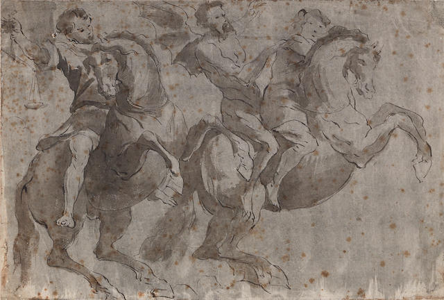 Follower of Abraham Diepenbeeck ('s-Hertogenbosch circa 1596-1675 Antwerp) A study of allegorical figures on horseback 9 1/4 x 14in