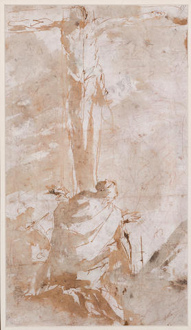 Circle of Giovanni Battista Tiepolo (Venice 1696-1770 Madrid) The Crucifixion; Entry into Jerusalem (double-sided)  14 1/2 x 8 1/2in (36.8 x 21.6cm)