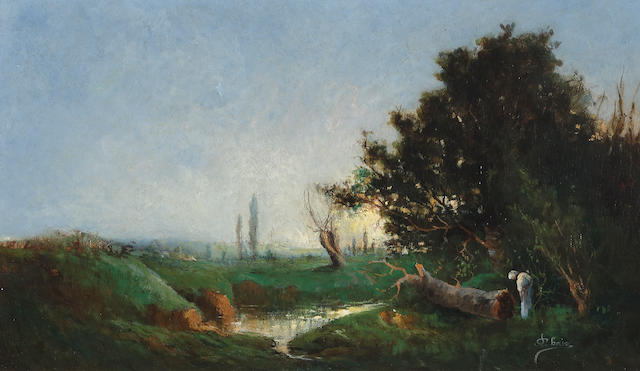 French School A landscape at sunset with a stream and a figure in the foreground 10 3/4 x 18in