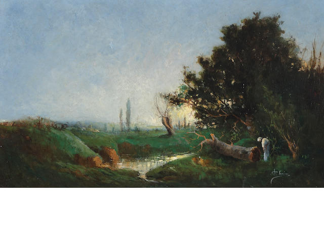 French School A landscape at sunset with a stream and a figure in the foreground 10 3/4 x 18in (27.3 x 45.7cm)