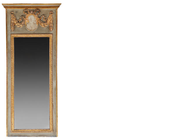 A Louis XVI style parcel gilt painted trumeau mirror<BR />fourth quarter 19th century