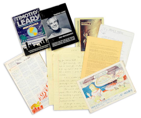 LEARY, TIMOTHY. 1920-1996. [GINSBERG, ALLEN.] A group lot of correspondence and printed material by and relating to Timothy Leary, including: