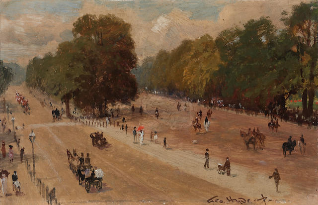 George Hyde Pownall (British/Australian, born circa 1876-1932) Rotten Row from Hyde Park Corner; Broad Sanctuary, Westminster (a pair) 6 x 9 1/4in (15.2 x 23.5cm)
