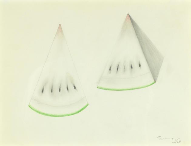 Rufino Tamayo (1899-1991) Sandías, 1968 9 3/4 x 13 1/4in. (24.8 x 33.6cm)
