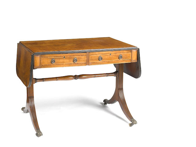 A Regency inlaid mahogany and rosewood sofa table<BR />first quarter 19th century