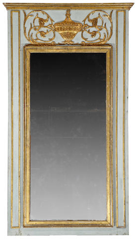 A good Louis XVI parcel gilt painted trumeau mirror fourth quarter 18th century