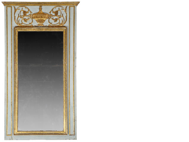 A good Louis XVI parcel gilt and painted trumeau mirror<BR />fourth quarter 18th century